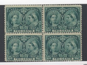 4x Canada Stamps Block of 4x Jubilees #52-2c Mint no gum Fine GV= $48.00