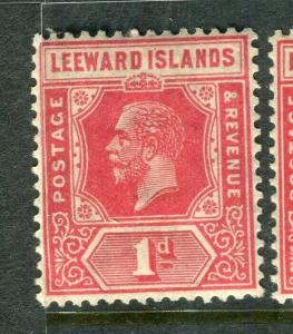 LEEWARD ISLANDS; 1921 early GV issue fine Mint hinged 1d. value,