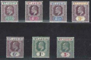 St Lucia 1904-1905 SC 50-56 Mint SCV $236.00 Set