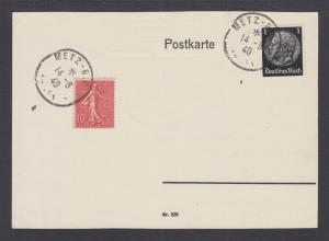 France 138, Germany 415 on 1940 Postal Card, METZ (Lorraine) cancels tie.