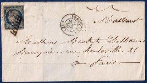 FRANCE (1850) Sc #6 Postal Cover Sur Lettre Paris, Rare Cancellation F-VF