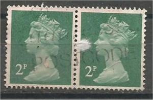 GREAT BRITAIN, Machins, 1971, used 2p pair Scott MH26