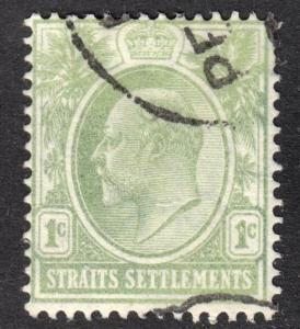 Malaya Straits Settlements Scott 109  wtmk 3 uncat. pale green F to VF used.
