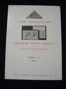 H R HARMER AUCTION CATALOGUE 1963 CAPE TRIANGULARS BRITISH WEST INDIES & BNA