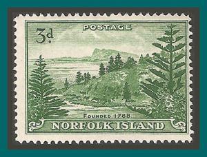 Norfolk Island 1959 Ball Bay, 3d white paper, MNH  #23,SG6a