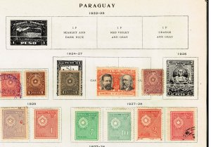 PARAGUAY STAMP MINT AND USED STAMPS ON ALBUM PAGE
