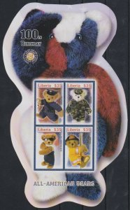 Liberia MNH S/S 100th Birthday All American Bears