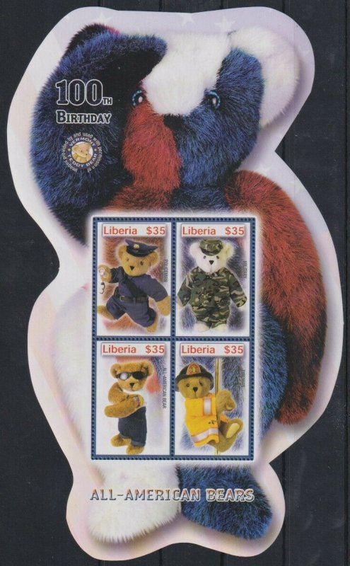 Liberia MNH S/S 100th Birthday All American Bears