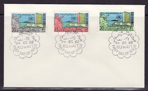 Kuwait, Scott cat. 417-419. United Nations Day issue. First day cover. ^
