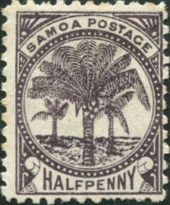 Samoa 1895 SG57a ½d deep purple-brown Palm Tree MH