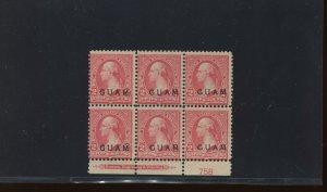 Guam Scott 2 Overprint Unused Plate Block of 6 Stamps (Stock Guam 2-pb1)