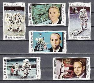 Ras Al Khaima, Mi cat. 701-706 A. Apollo 14, Space issue.