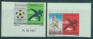 88660 - MAROC Morocco - set of 2  IMPERF stamps 1971 SPORT athletics FOOTBALL