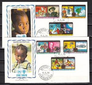 Central Africa, Scott cat. 376-9, C206-7. Year of the Child. 2 First Day Covers.