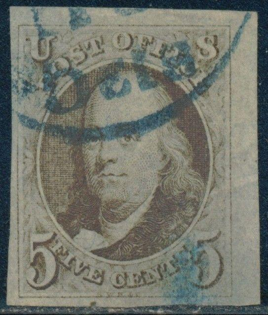 #1 XF USED (APP.) W/ BLUE TOWN CANCEL T.R. CORNER COPY W/ WIDE MARGINS BQ9041