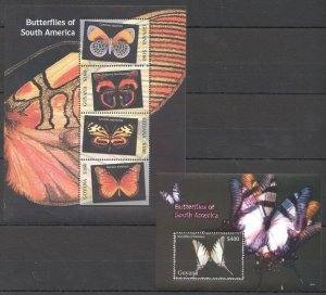 PK288 2006 GUYANA FAUNA BUTTERFLIES INSECTS OF SOUTH AMERICA 1KB+1BL MNH STAMPS