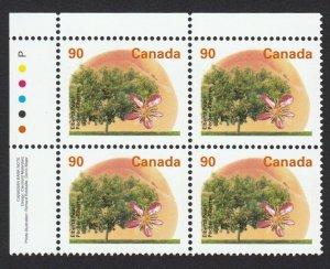 ELBERTA PEACH = INTERNATIONAL RATE = Canada 1995 #1374 MNH UL BLOCK of 4