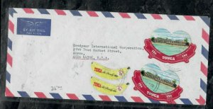TONGA COVER (PP0301B)   FREE FORM STAMPS X4 A/M COVER TO USA