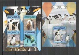 ST2156 2016 MOZAMBIQUE BIRDS FAUNA PENGUINS 1KB+1BL MNH