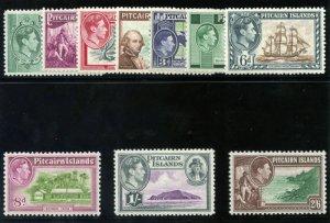 Pitcairn Islands 1940 KGVI set complete MLH. SG 1-8. Sc 1-8.