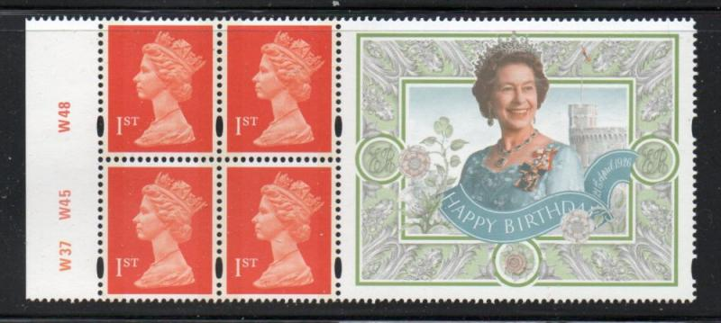 Great Britain Sc MH288c 1st Booklet pane QE II Birthday label mint NH