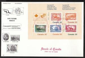 Canada 913a Canada Exhibition Souvenir Sheet Senate NR Covers U/A FDC