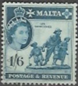 Malta 1956 Queen Elizabeth, 1sh6p, used, Scott #257