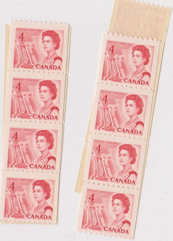 Canada USC #467 Mint (56) Inc. strips - F-VF-NH 1967 4c Coil