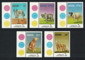 Kenya Donkey Cattle Sheep Dog Cat 5v Margins Traffic Lights SG#637-641