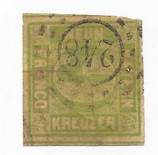 German States - Bavaria  #6   9kr  yellow green imperf   (U) CV $16.00