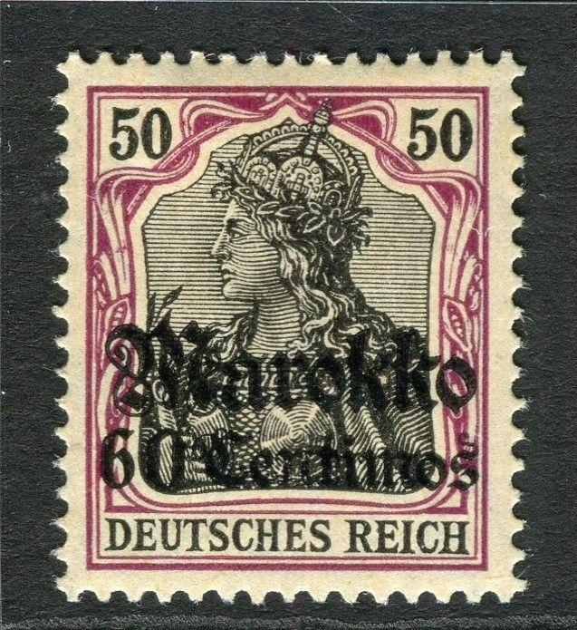 GERMAN COLONIES; MOROCCO 1911 early surcharged Mint hinged 60c. value
