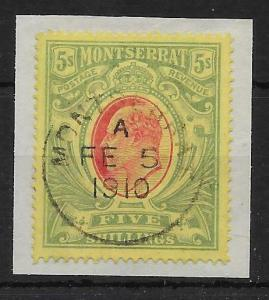 MONTSERRAT SG47 1909 5/= RED & GREEN/YELLOW FINE USED ON PIECE
