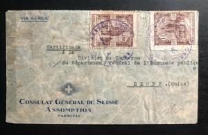 1939 Asuncion Paraguay Diplomatic swiss Embassy Cover to Bern Switzerland