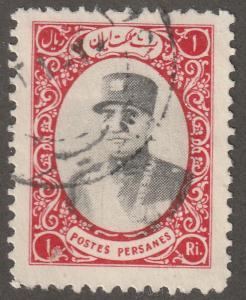 Persian stamp, Scott# 780, used hinged, 1R, dark rose and black, B-55
