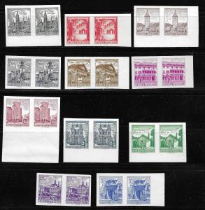 Austria, 688-95, 697-98, 700 (11v), Various Designs IMPERF pairs MNH (BB)