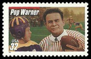 PCBstamps     US #3149 32c Glenn Pop Warner, extra red line, 1997, MNH, (10)