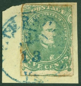 EDW1949SELL : CONFEDERATE 1861 Sc #1 Used on piece. Blue town cancel. Cat $185++