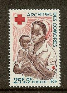 Comoro Islands, Scott #B2, 25fr + 5fr Red Cross Issue, MH