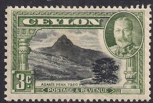 Ceylon 1935 - 36 KGV 3ct Black & Green MM SG 369 ( T48 )
