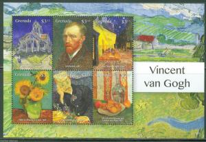 GRENADA   2015 VINCENT van GOGH   SHEET OF SIX OF HIS PAINTINGS   MINT NH