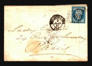 France 1858 Cover 20c To Paris (II) - Z15681