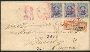 HAWAII #58 STRIP OF 3 ON REGISTERED MAIL HAWAII TO PARIS, FRANCE XF+ HW1743