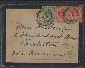 GIBRALTAR  (PP1302B) 1909 KE 1/2D+1DX2 MOURNING COVER WITH ENCLOSURE TO USA