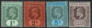 BRITISH HONDURAS 1902 KEVII SET 1C - 20C WMK CROWN CA