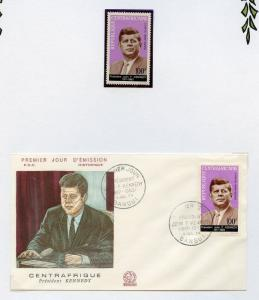 CENTRAL AFRICA  JOHN KENNEDY MEMORIAL STAMPS & SHEET(NH)  AND  FIRST DAY COVER