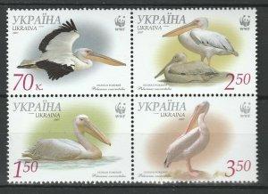 Ukraine 2007 Pelicans WWF 4 MNH stamps
