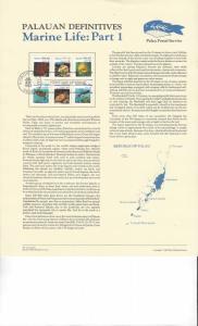 Palau Commemoratives Panel, Marine Life Part 1 Definitives, FDC 1983