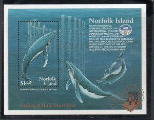 Norfolk Island Sc 576a 1995 Whales JAKARTA 95 overprint stamp sheet mint NH