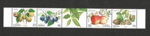 SERBIA-MNH- STRIP-FRUITS, apples, walnuts, plums, pears-FLORA-2017.
