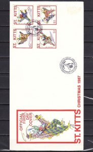 St. Kitts, Scott cat. 215-218. Christmas-Clowns issue. First day cover.^